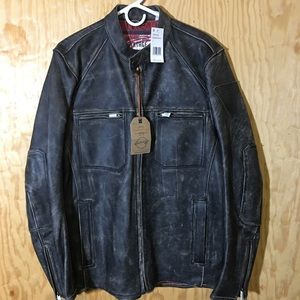 Waterfront Vintage Mens MOTO Leather Jacket